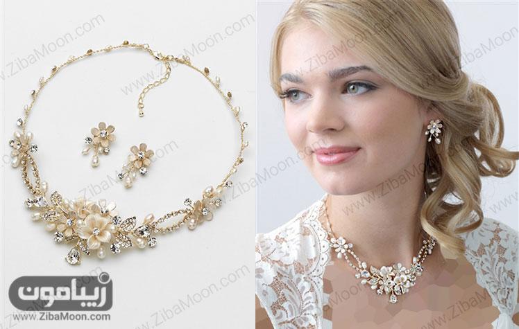 سرویس طلای عروس طلایی گلدار