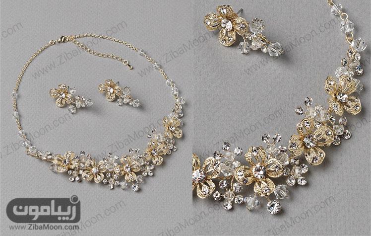 سرویس طلا عروس گلدار طلایی کریستالی