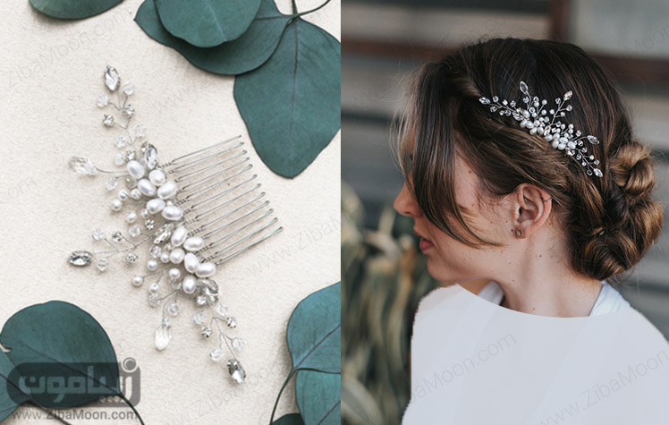 اکسسوری شانه ای روی موهای عروس
