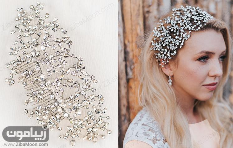 مدل مو باز عروس با اکسسوری درخشان و ظریف