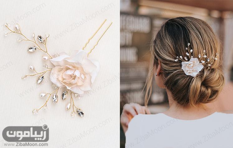 مدل مو عروس با اکسسوری زیبا به شکل گل رز و کریستال های درخشان