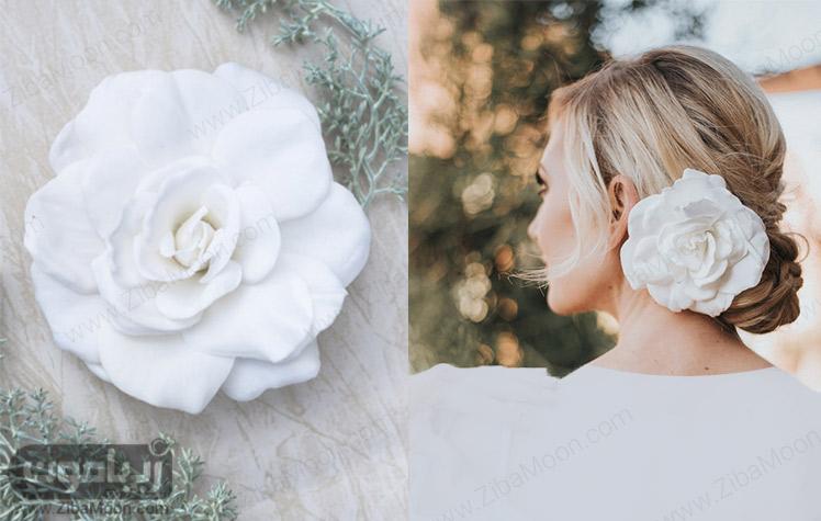 مدل شینیون مو عروس با گل رز بزرگ و پارچه ای