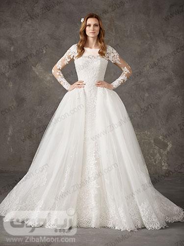 لباس عروس دوبل دم ماهی و پرنسسی سفید با ابریشم و گیپور
