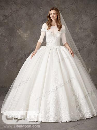 لباس عروس پرنسسی با دامن کار شده و یقه آف شولدر کریستالی گیپوری