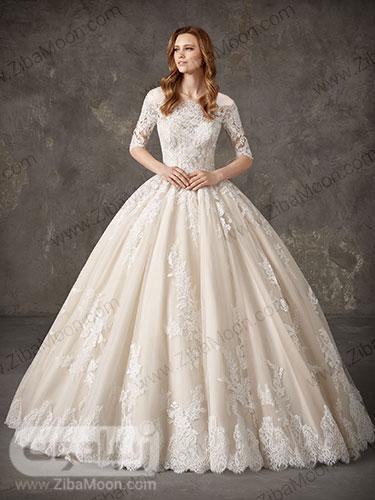 لباس عروس پرنسسی با بالاتنه گیپوری کار شده و یقه قایقی