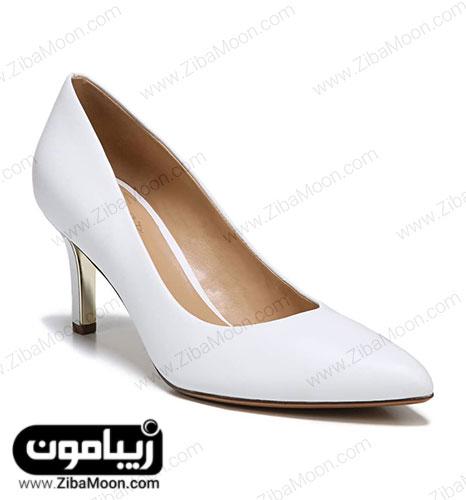کفش عروس چرمی سفید با پاشنه متوسط
