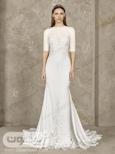 لباس عروس دم ماهی ابریشمی سفید یخی با دامن و دور لبه ی گیپوری و یقه دلبری