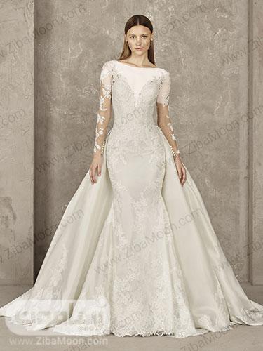 لباس عروس دم ماهی با دامن دوبل پرنسسی کارشده و یقه دلبری