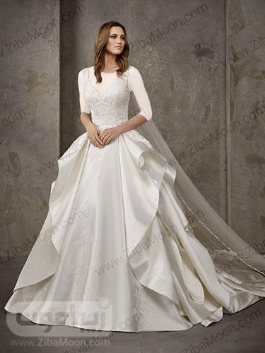 لباس عروس ساتنی سفید دو لایه خاص با بالاتنه کارشده