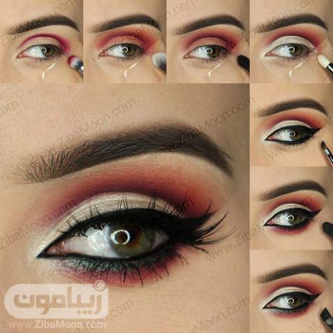 مراحل آرایش چشم سبز و قرمز