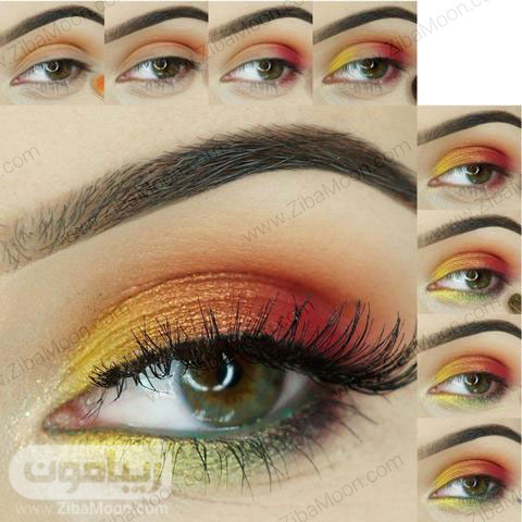 مراحل آرایش چشم قرمز سبز زرد و نارنجی