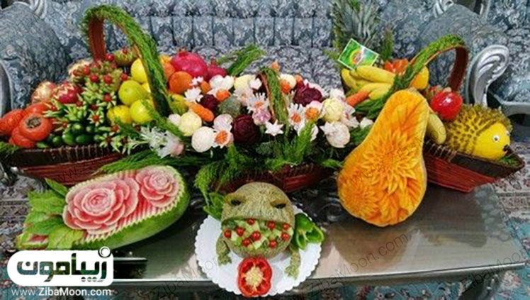 انواع میوه تزیین شده برای یلدا