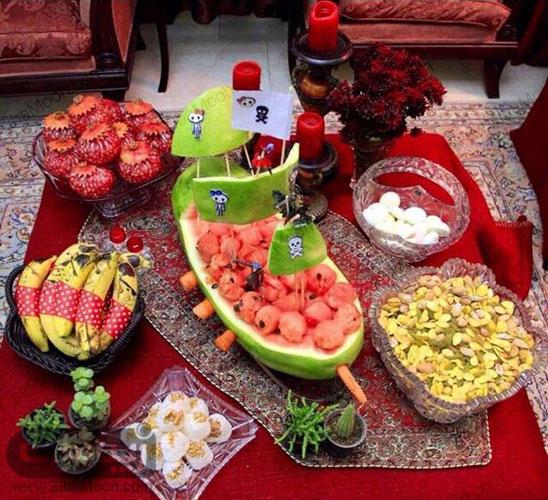 دیزاین انار موز و هندوانه شب چله