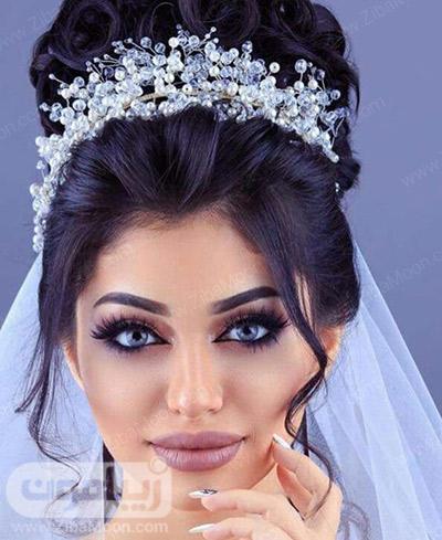 آرایش عروس به سبک عربی با لنز روشن و موهای مشکی