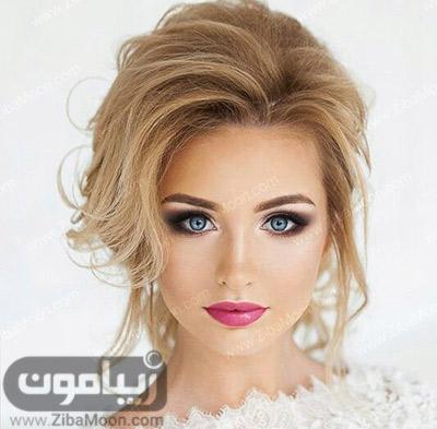 آرایش عروس زیبا با سایه چشم اسموکی و رژلب صورتی پر رنگ