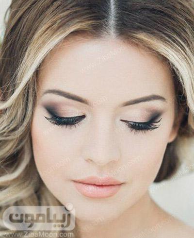 آرایش عروس با سایه چشم سایه روشن اسموکی و رژلب نارنجی روشن