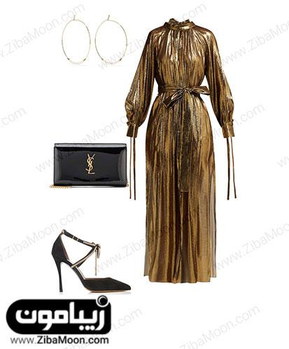 ست لباس مهمانی طلایی