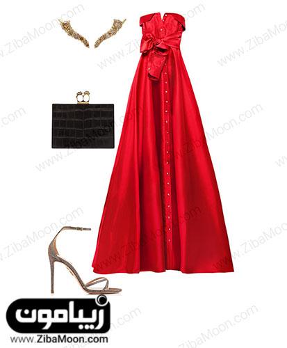ست لباس مهمانی قرمز بولد