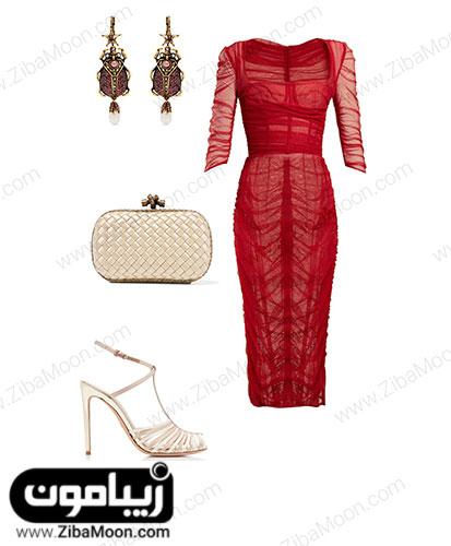 ست لباس مهمانی قرمز