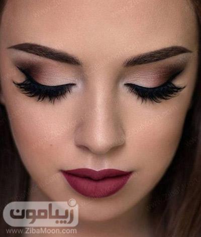 مدل آرایش چشم شیک و جذاب و رژلب تیره برای عروس