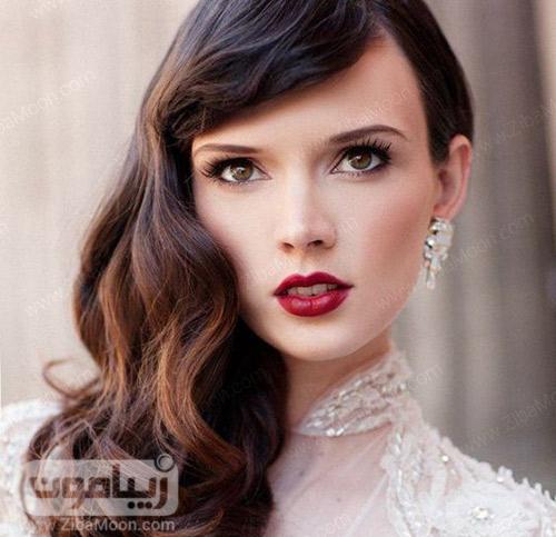 مدل آرایش عروس با موهای مشکی و رژلب زرشکی