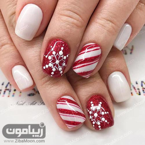 طراحی ناخن زمستانی با لاک قرمز و سفید