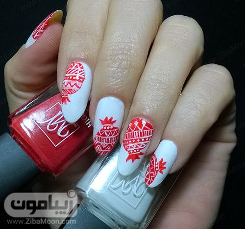 مدل ناخن یلدایی با لاک قرمز و سفید و طرح انار