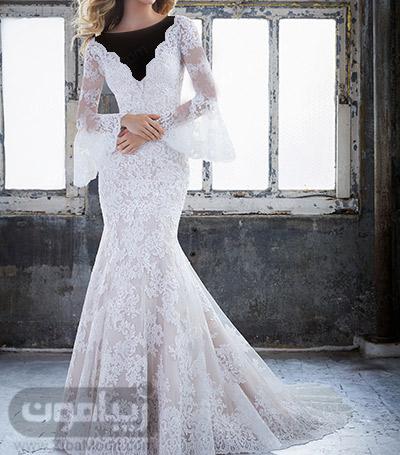 لباس عروس دم ماهی با آستین بلند و چین دار