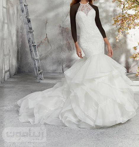 لباس عروس دم ماهی با دامن توری و چین دار