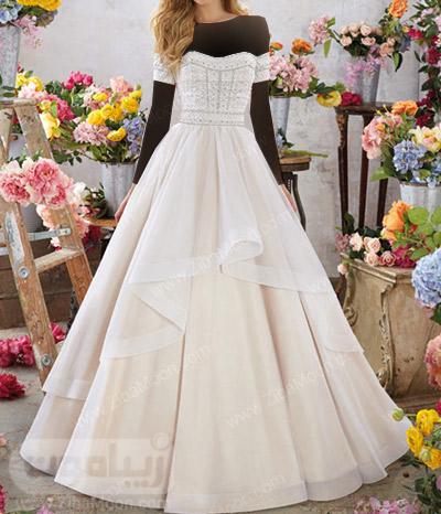 لباس عروس دکلته شیک با آستین کوتاه روی بازو