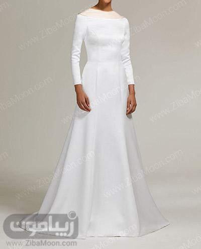 لباس عروس ساده با آستین بلند و یقه گرد