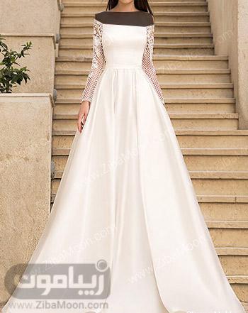 لباس عروس ساده با آستین بلند گیپوری