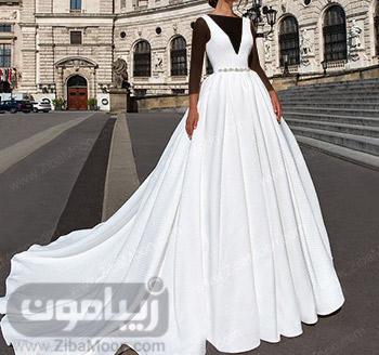 لباس عروس ساده و شیک با دامن دنباله دار