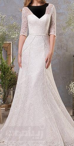 مدل لباس عروس ساده گیپوری با آستین سه ربع
