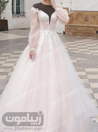 لباس عروس شیک و جدید با آستین بلند و پف دار