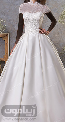 لباس عروس گیپوری زیبا با دامن پف دار و آستین کوتاه
