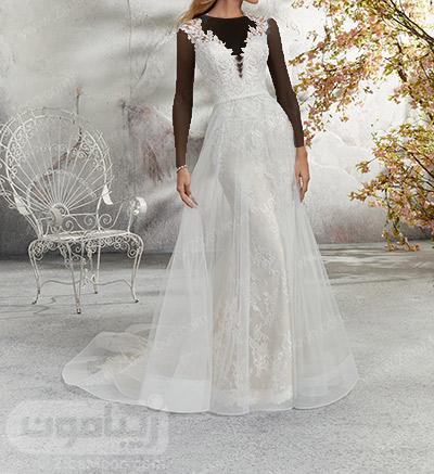 لباس عروس جدید و شیک با یقه هتی و دامن توری