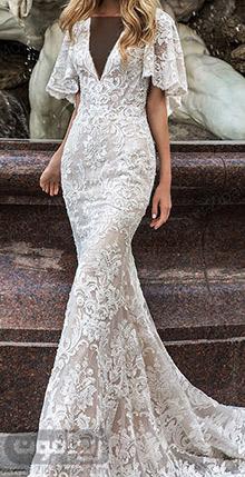 لباس عروس پری دریایی گیپوری با آستین چین دار