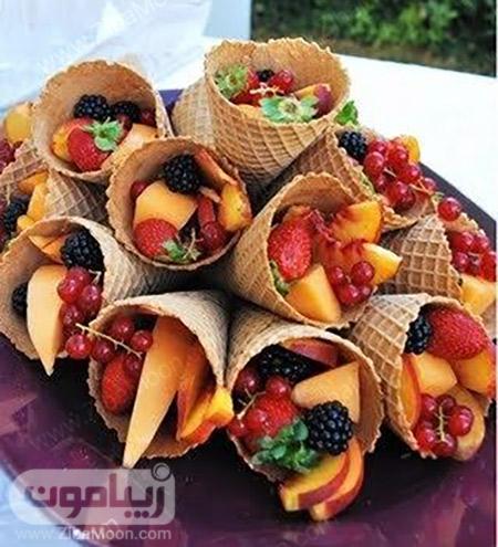ایده تزیین میوه در قیف بستنی
