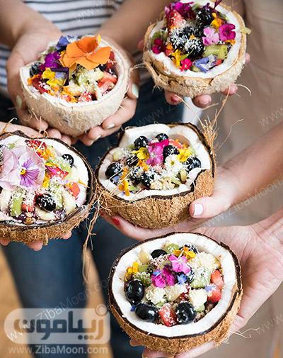 ایده جالب برای سرو میوه در نارگیل