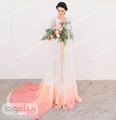 لباس عروس سایه روشن با رنگ مرجانی