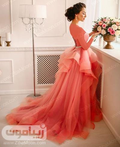 لباس نامزدی با رنگ مرجانی