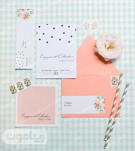 کارت دعوت عروسی به رنگ مرجانی