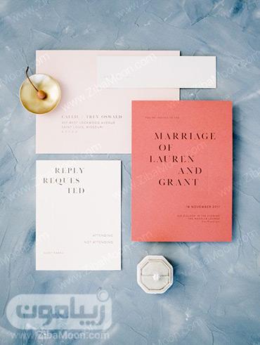 کارت عروسی مدرن با رنگ مرجانی و سفید