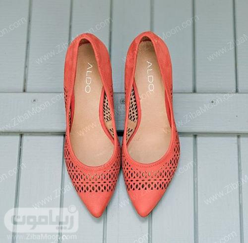کفش عروس با رنگ مرجانی