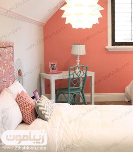 دیوار اتاق به رنگ مرجانی