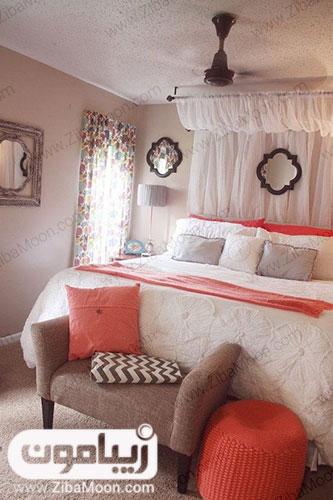 رنگ مرجانی در اتاق خواب