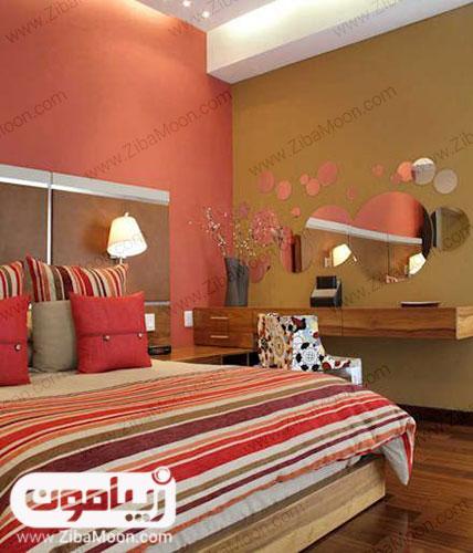 رنگ مرجانی دیوار اتاق