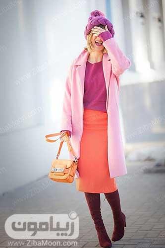 استایل زمستانی رنگارنگ شیک و جذاب با رنگهای صورتی بنفش و مرجانی