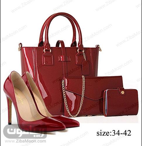 کیف و کفش چرم قرمز